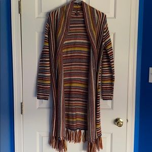 Hannah Multicolor Knee-Length Cardigan Size Small